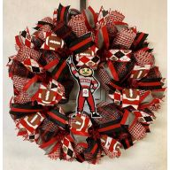 "24"" Premade Collegiate Mesh Wreath - Ohio Mascot"