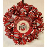 "24"" Premade Collegiate Mesh Wreath - Ohio (Wooden Centerpiece)"