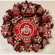 "24"" Premade Collegiate Mesh Wreath - Ohio (Metal Centerpiece)"