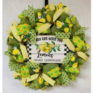 "24"" Premade Spring ""When Life Gives You Lemons Make Lemonade"" Wreath - Green / Yellow"
