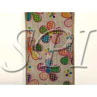 """2.5 """" x 10 yd Linen Pattern Daisy - Tan / Multi"""