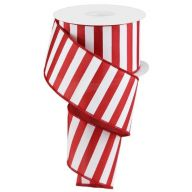 "2.5 "" x 10 yd Medium Horizontal Stripe - Crimson Red / White"