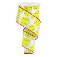 "2.5"" X 10yd Softball - White / Neon Yellow / Red (R0240-15)"
