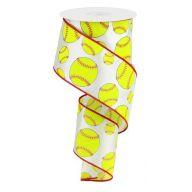 """2.5"""" X 10yd Softball - White / Neon Yellow / Red"""