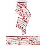 "2.5 "" x 10 yd California Print - White / Red"