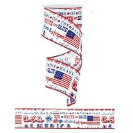 "2.5 "" X 10 yd Wired America USA Ribbon - Red / White / Blue"