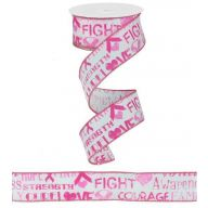 "1.5 "" X 10yd Wired Breast Cancer Awareness Ribbon - Pink / White (R0509-86)"