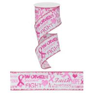 "2.5 "" X 10yd Wired Breast Cancer Awareness Ribbon (R0540-86)"