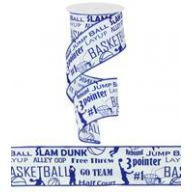 "2.5 "" X 10yd Basketball Print -Royal / White"