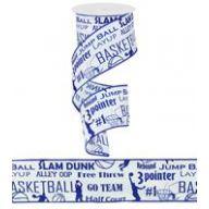 """2.5 """" X 10yd Basketball Print -Royal / White"""