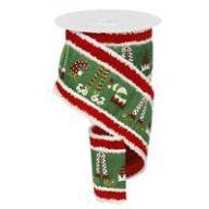 """4 """" X 10 Yard Elf Hats And Legs Velvet / Snowdrift Edge - Emerald / White / Red / Lime"""