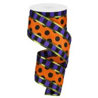 "2.5 "" x 10 yd 3-in-1 Polka Dot w / Stripes - Purple / Black / Orange / Lime"