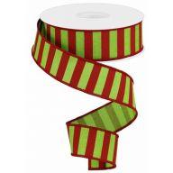 "1.5 "" x 10 yd Medium Horizontal Stripe - Lime Green / Red"