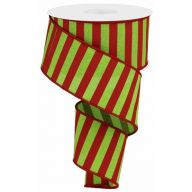 "2.5 "" x 10 yd Medium Horizontal Stripe - Lime Green / Red"