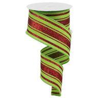 "2.5 "" x 10 yd Glitter Farmhouse Stripe - Lime Green / Red"