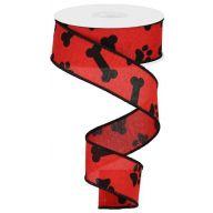 "1.5 "" x 10 yd Paw Print / Bones on Royal - Red / Black"