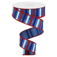 "1.5""X10yd Horizontal Stripe On Royal -"