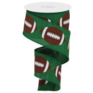 "2.5"" X 10yd Footballs On Royal - Emerald / Brown / White (TR90740-06)"