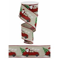 "2.5"" X 10yd Ho Ho Santa / Tree / Truck / Royal - Light Natural / Red / Black / Gray / Green / White"