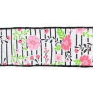 """2.5"""" X 10yd Floral Lines On Royal - White / Multi Pink"""
