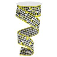 10yd Wired Mini Bumblebees Gingham Check Ribbon - Black / White / Yellow