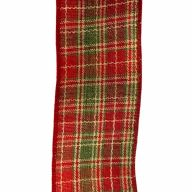 """2.5"""" X 50yd Wired Plaid Ribbon - Cranberry / Green / Red / Ivory"""