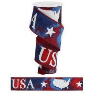 "2.5"" X 10yd Patriotic Symbols / Water Ribbon - White / Red / Blue"