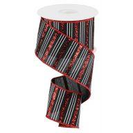 "2.5"" X 10yd Wired Glitter Horizontal Stripe Ribbon - Black / Red / White"