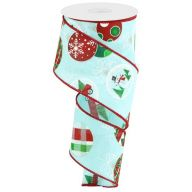 """2.5"""" X 10yd Wired Hanging Ornaments Ribbon - Ice Blue / Red / Green / Black"""