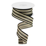 "1.5"" X 10yd Vertical Stripe / Royal Ribbon - Light Beige / Black"