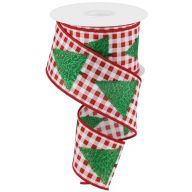 "2.5"" X 10yd Wired Christmas Tree w/ Gingham Check Ribbon - White / Green / Brown / Red"