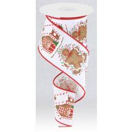 """2.5"""" X 10yd Wired Gingerbread Man / House Ribbon"""