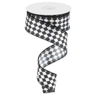 10yd Small Harlequin On Satin Ribbon - White / Black