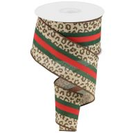 """2.5"""" X 10yd Wired Leopard / Center Stripes On Royal Ribbon - Beige / Red / Emerald / Brown"""