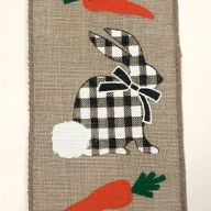 """2.5"""" X 10yd Light Natural Ribbon w/ Black / White Check Bunnies and Carrots"""