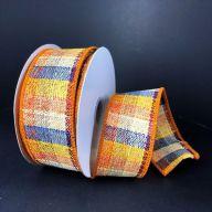 """1.5"""" X 10yd Wired Coarse Fall Plaid Ribbon - Orange / Royal / Sunflower / Burgundy / Cream"""