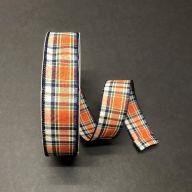 50yd Wired Plaid Ribbon - Dark Orange / Moss / Cream / Navy