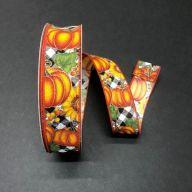 50yd Wired Pumpkins / Sunflowers Plaid Ribbon - Black / White / Orange / Moss