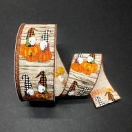 "2.5"" X 50yd Wired Wood Linen Gnomes Chilling On Orange Pumpkins Ribbon w/ Orange Edge"