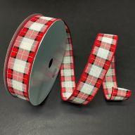 50yd Wired Square / Dash Plaid Ribbon - Cream / Red / Black / White