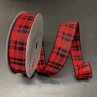 50yd Wired Woven Josh Plaid Ribbon - Red / Black