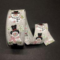 "2.5"" X 50yd Wired Grey Linen Snowman w/ Buffalo Plaid / Stripe Scarves Ribbon"