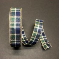 50yd Wired Tom Plaid Ribbon - Navy / Moss / Gold / White