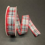 50yd Wired Linen Weave Plaid Ribbon - Grey / White / Red / Black