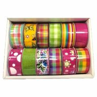 10yd Wired 2021 Spring Assorted Ribbon Try (12 Rolls Per Box)