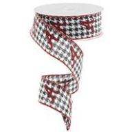 """1.5"""" x 10 yd Wired Houndstooth Red Glitter """"A"""" Red Edge"""