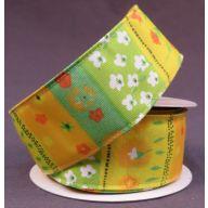 "1.5 "" x 10 yd Wired Mini Floral Ribbon - Orange / Yellow / Green"