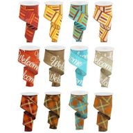 """2.5"""" X 10yd Wired Welcome / Fall Assorted Ribbon"""