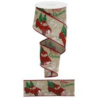 "2.5"" X 10yd Merry Christmas / Truck - Natural / Red / Green"