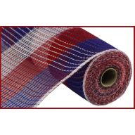 """10.5"""" X 10yd Poly / Faux Jute Wide Check Mesh - Red / White / Blue"""